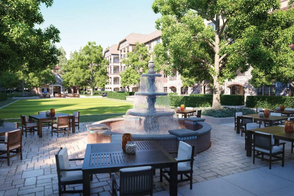 Peachtree Hills Place 55+ active-adult community fountain in the main courtyard.